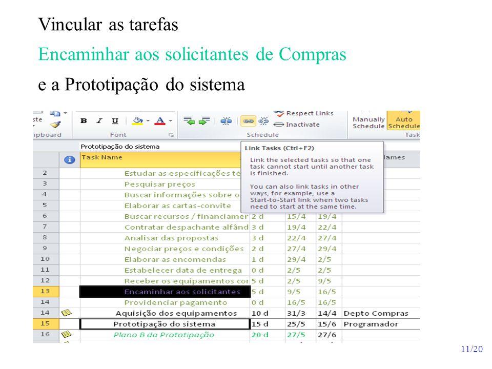 Vincular as tarefas Encaminhar aos solicitantes de Compras e a Prototipação do sistema