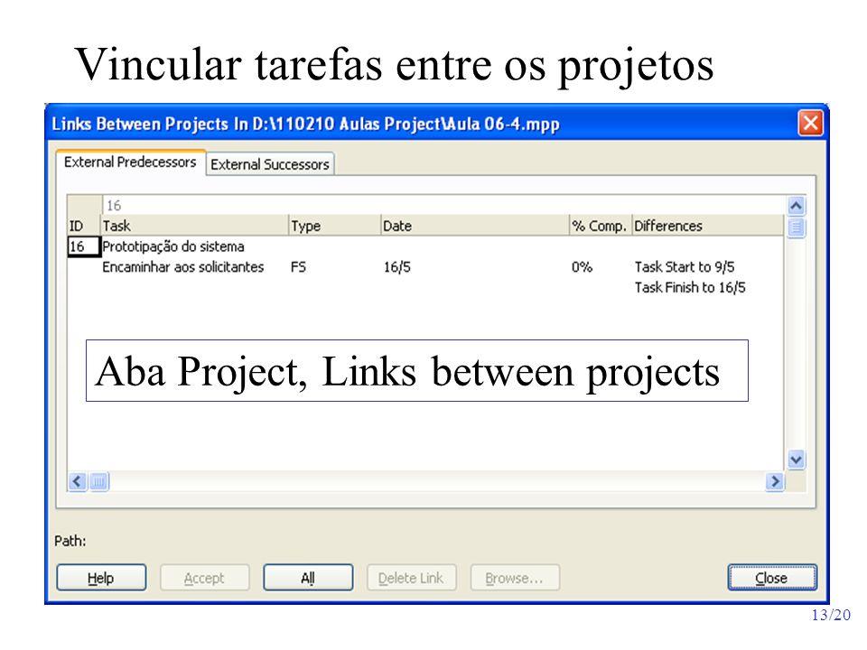 Vincular tarefas entre os projetos