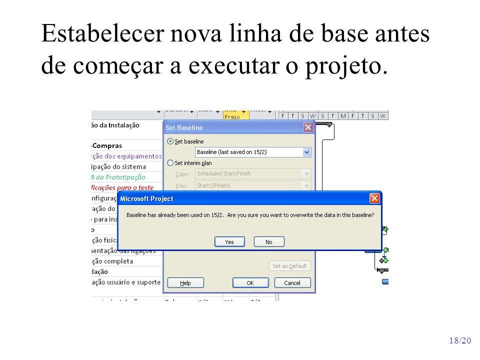 Estabelecer nova linha de base antes de começar a executar o projeto.