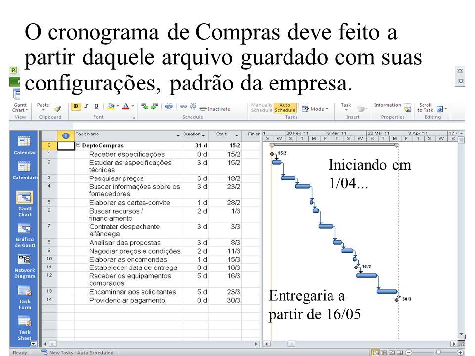 O cronograma de Compras deve feito a partir daquele arquivo guardado com suas configurações, padrão da empresa.