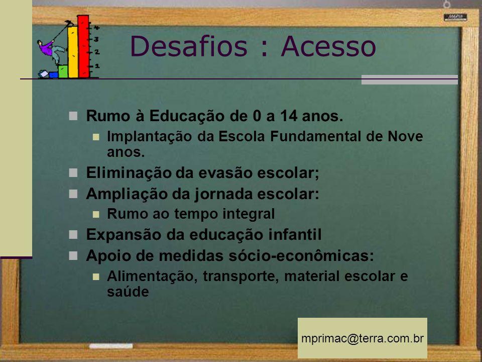 Desafios : Acesso Rumo à Educação de 0 a 14 anos.