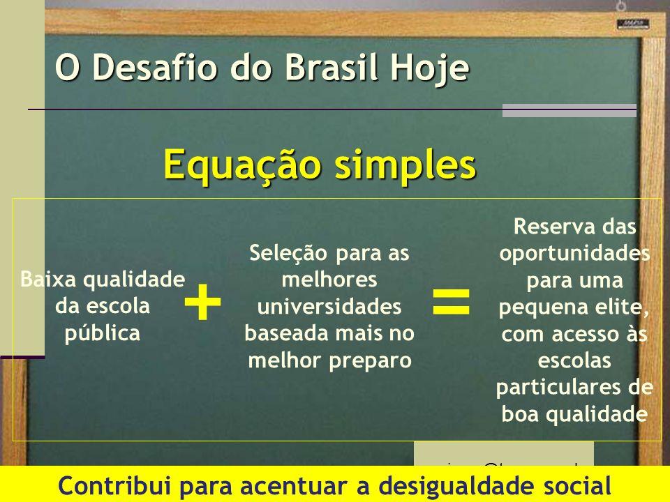 + = Equação simples O Desafio do Brasil Hoje