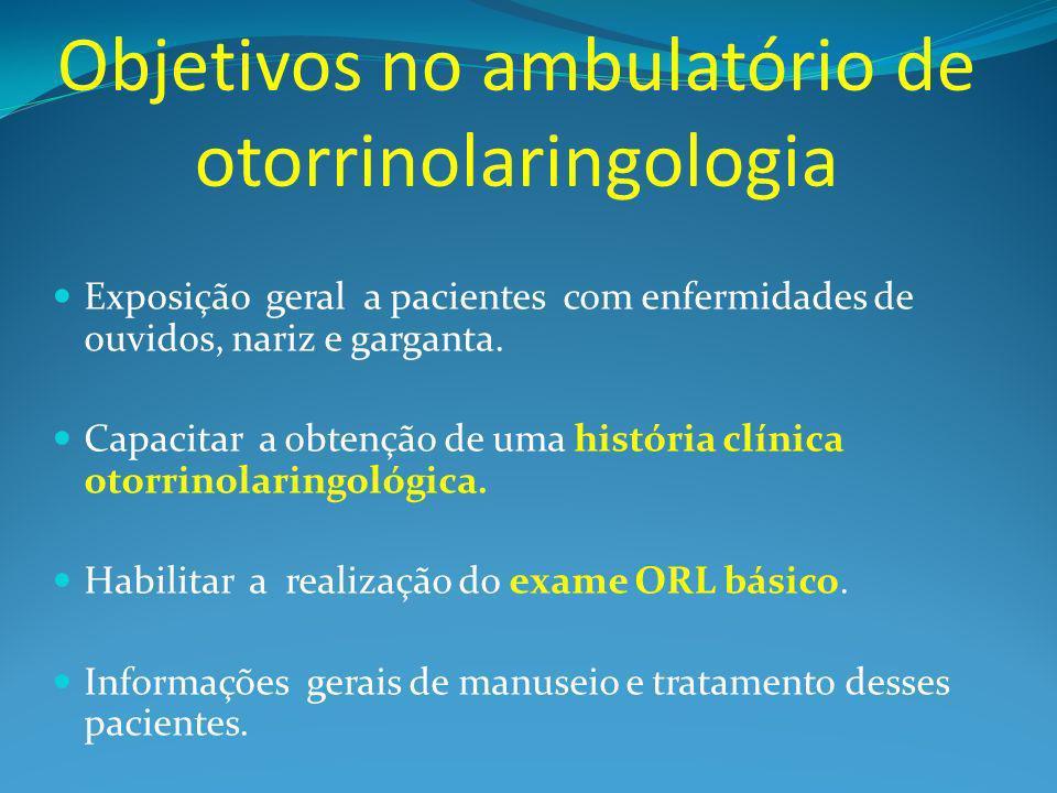 Objetivos no ambulatório de otorrinolaringologia