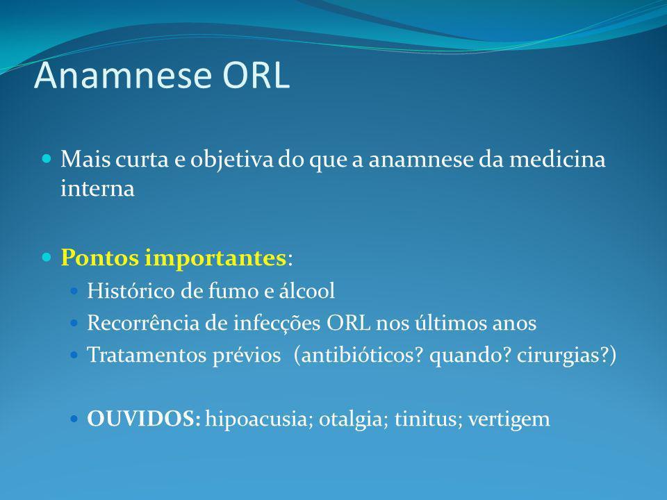 Anamnese ORL Mais curta e objetiva do que a anamnese da medicina interna. Pontos importantes: Histórico de fumo e álcool.
