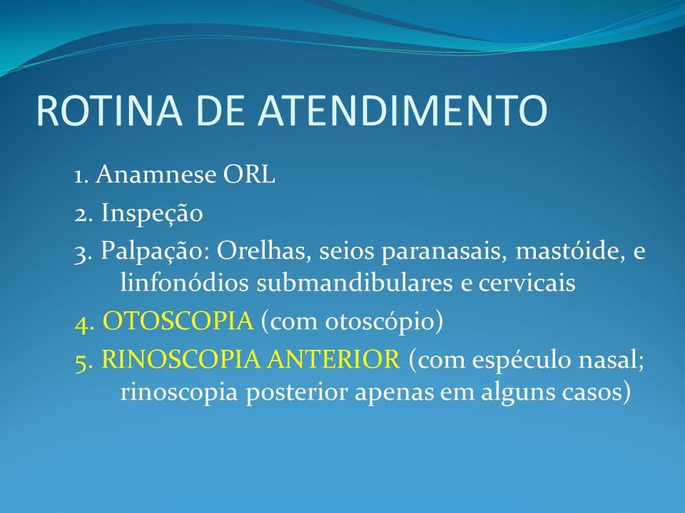 ROTINA DE ATENDIMENTO 1. Anamnese ORL 2. Inspeção