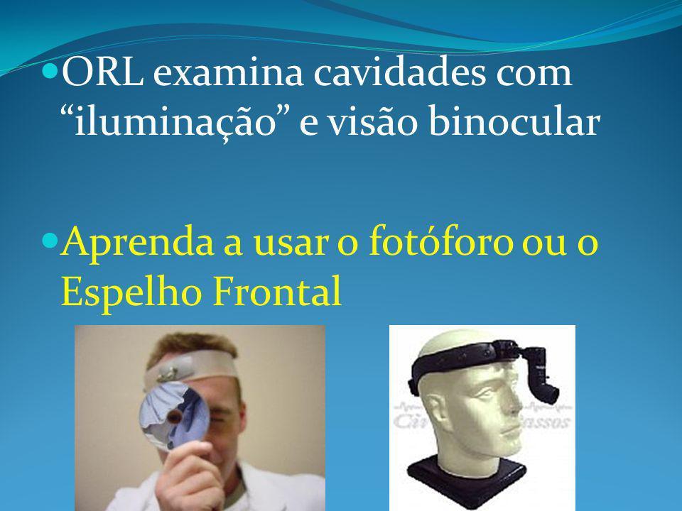 ORL examina cavidades com iluminação e visão binocular