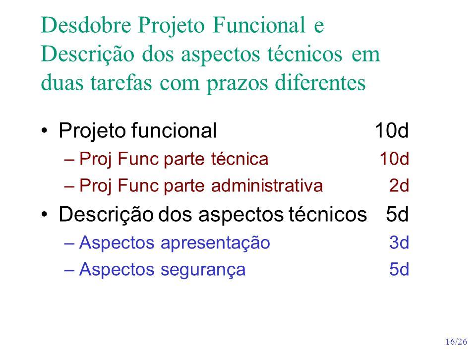 Desdobre Projeto Funcional e Descrição dos aspectos técnicos em duas tarefas com prazos diferentes