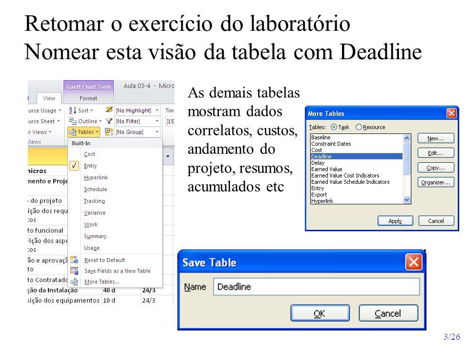 Retomar o exercício do laboratório Nomear esta visão da tabela com Deadline