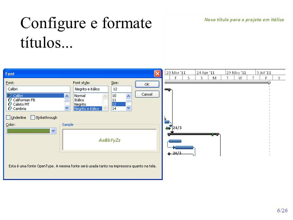 Configure e formate títulos...