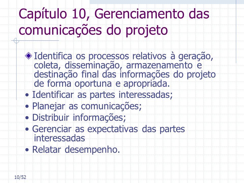 Capítulo 10, Gerenciamento das comunicações do projeto