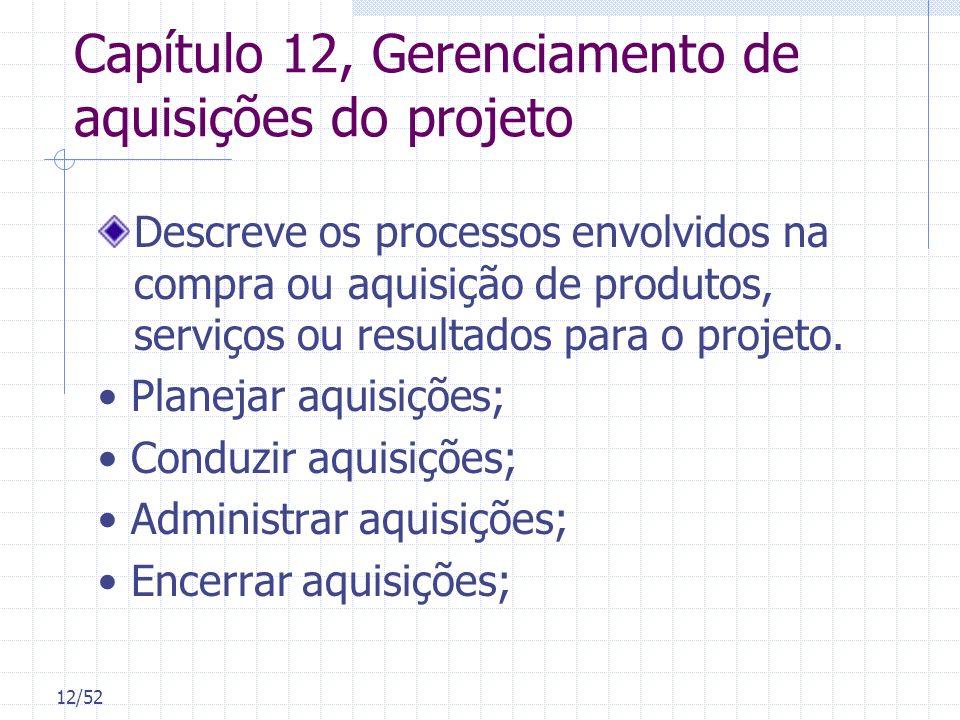 Capítulo 12, Gerenciamento de aquisições do projeto