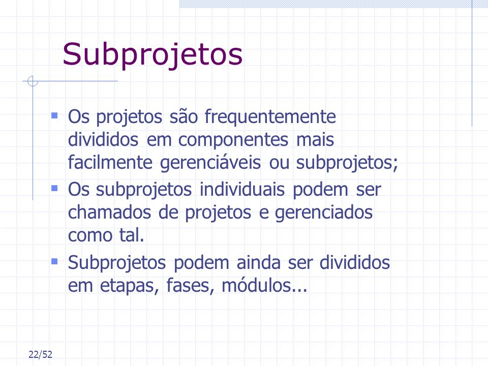 Subprojetos Os projetos são frequentemente divididos em componentes mais facilmente gerenciáveis ou subprojetos;