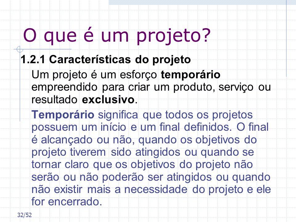 O que é um projeto 1.2.1 Características do projeto