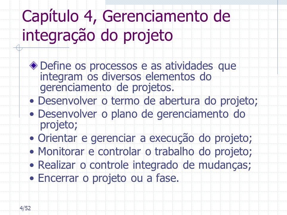 Capítulo 4, Gerenciamento de integração do projeto