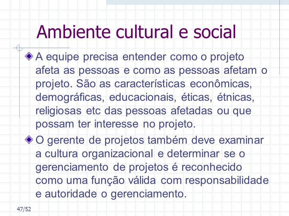 Ambiente cultural e social