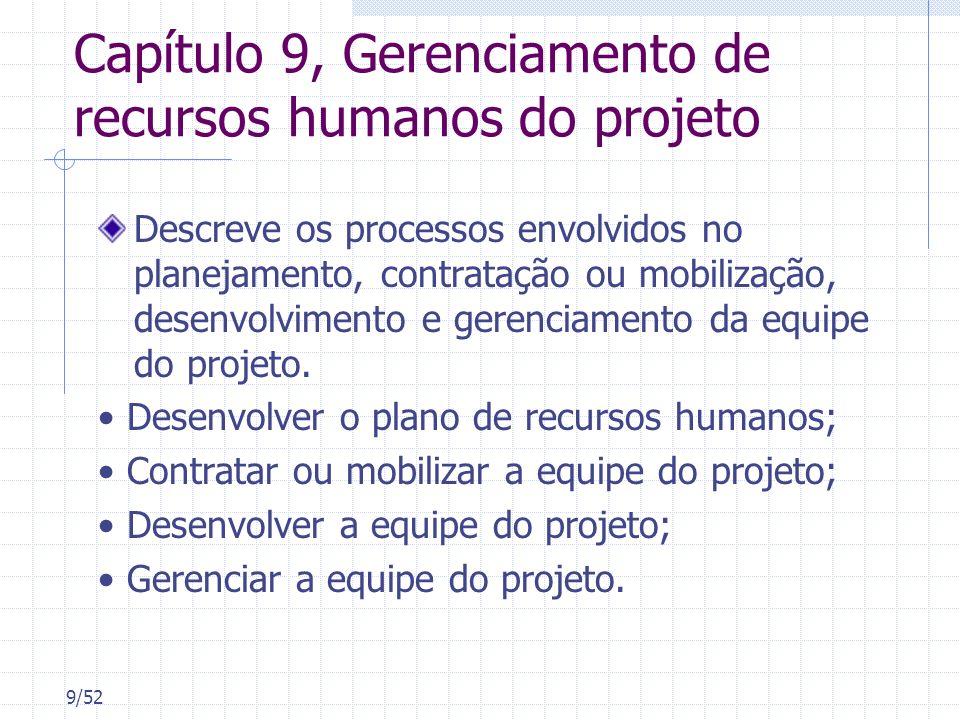 Capítulo 9, Gerenciamento de recursos humanos do projeto