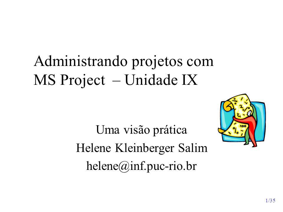 Administrando projetos com MS Project – Unidade IX