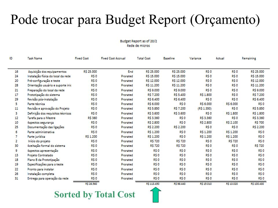 Pode trocar para Budget Report (Orçamento)