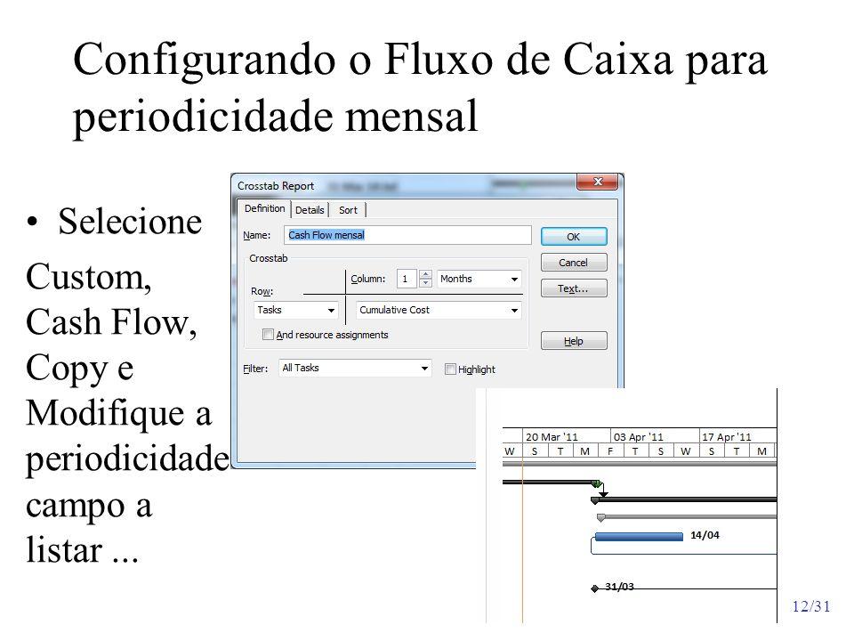 Configurando o Fluxo de Caixa para periodicidade mensal