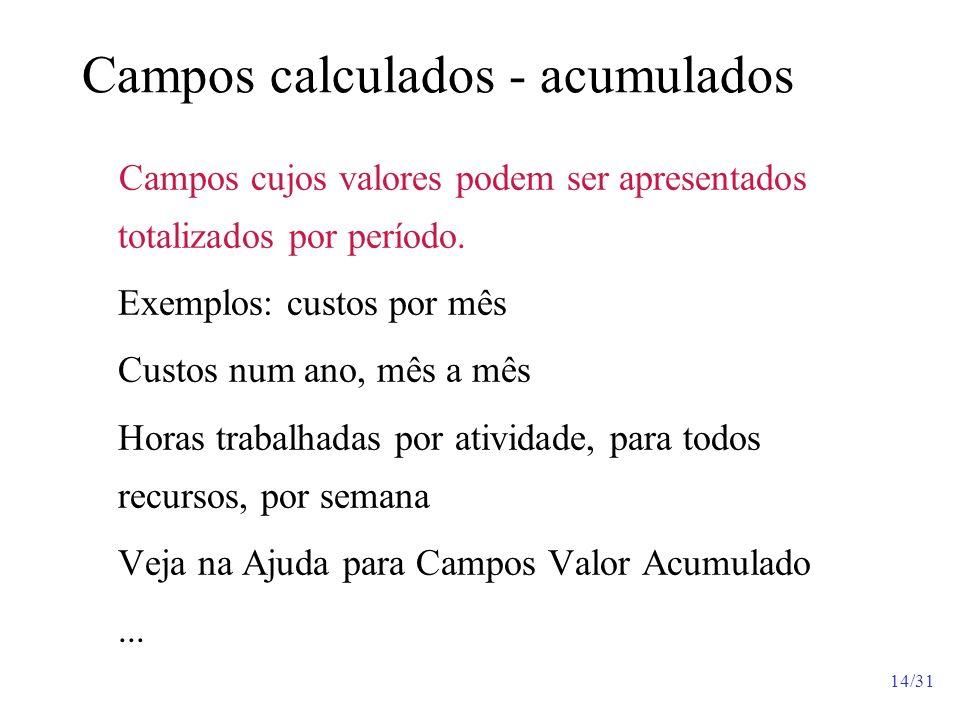 Campos calculados - acumulados