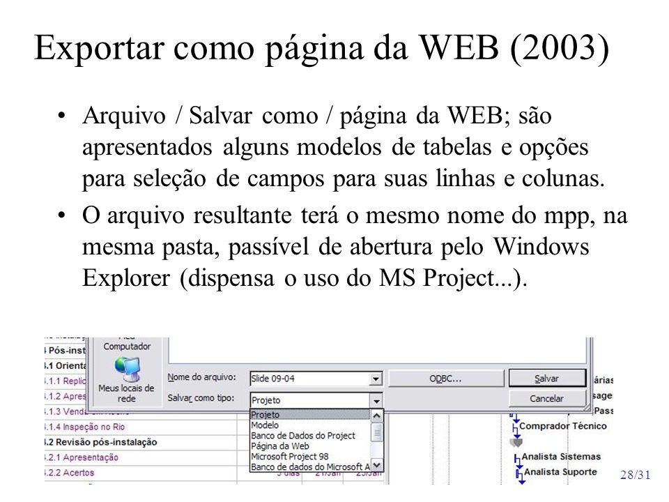 Exportar como página da WEB (2003)