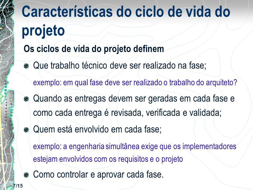 Características do ciclo de vida do projeto