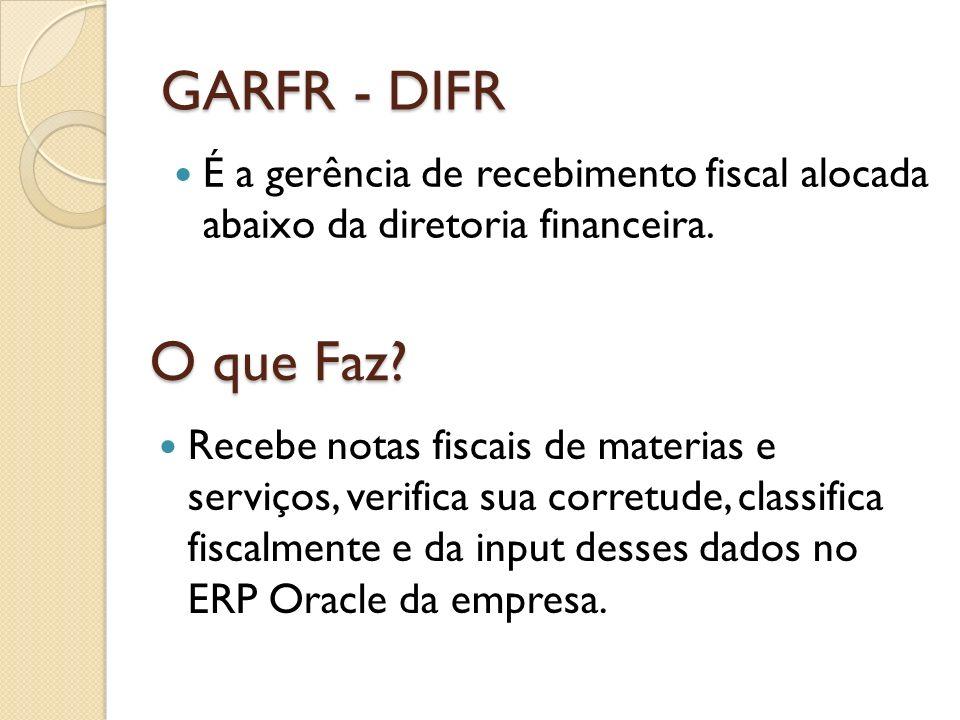 GARFR - DIFR É a gerência de recebimento fiscal alocada abaixo da diretoria financeira. O que Faz