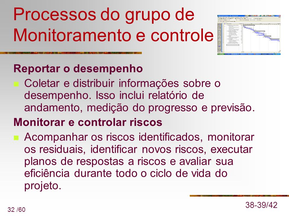 Processos do grupo de Monitoramento e controle