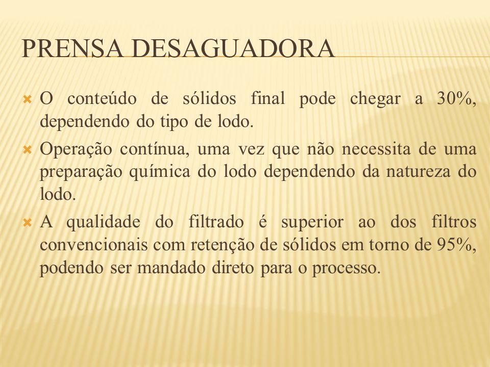 Prensa Desaguadora O conteúdo de sólidos final pode chegar a 30%, dependendo do tipo de lodo.