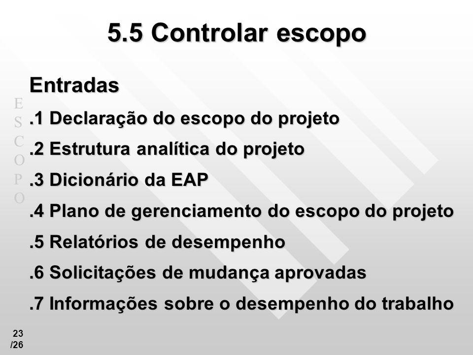 5.5 Controlar escopo Entradas .1 Declaração do escopo do projeto
