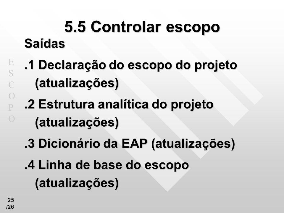 5.5 Controlar escopo Saídas