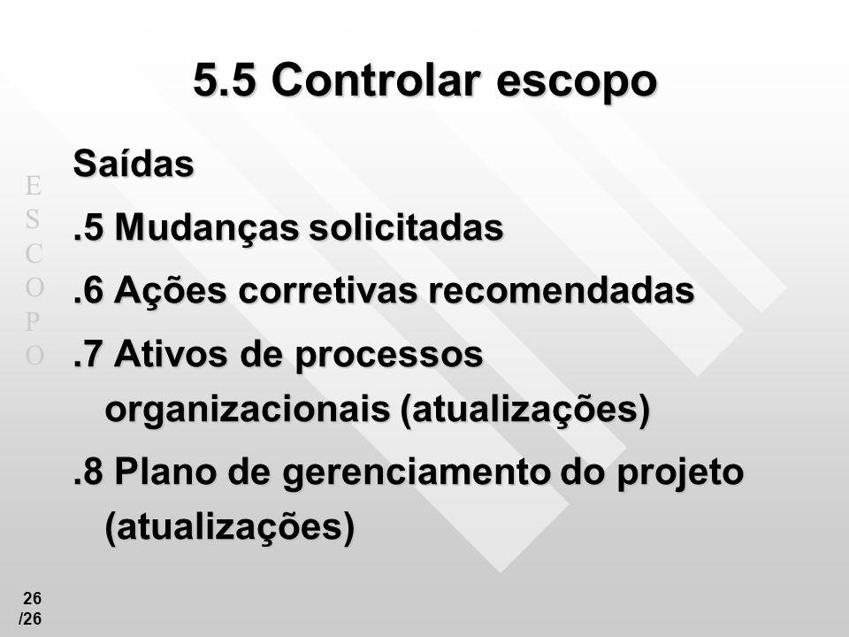 5.5 Controlar escopo Saídas .5 Mudanças solicitadas