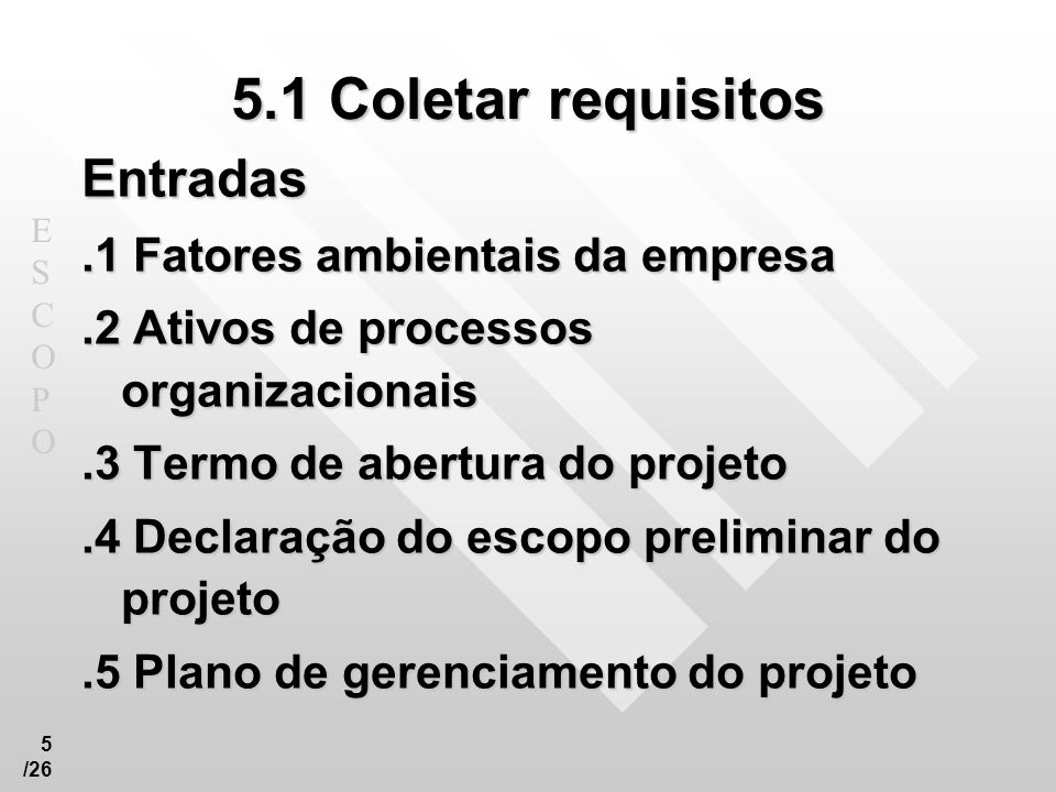 5.1 Coletar requisitos Entradas .1 Fatores ambientais da empresa