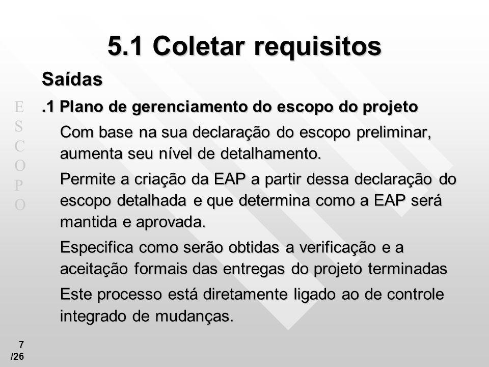 5.1 Coletar requisitos Saídas