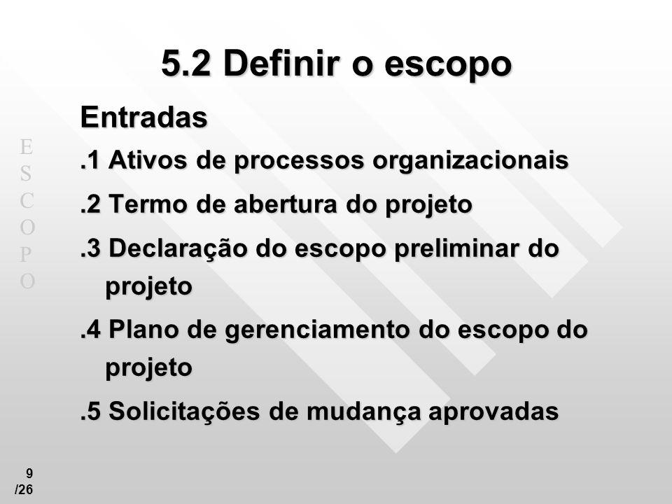 5.2 Definir o escopo Entradas .1 Ativos de processos organizacionais