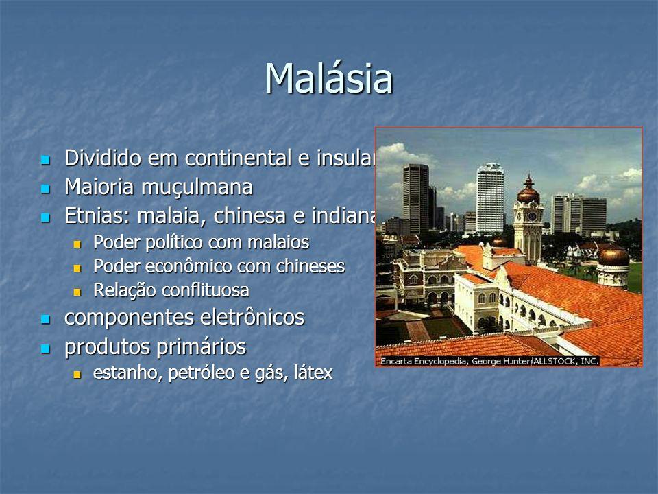 Malásia Dividido em continental e insular Maioria muçulmana