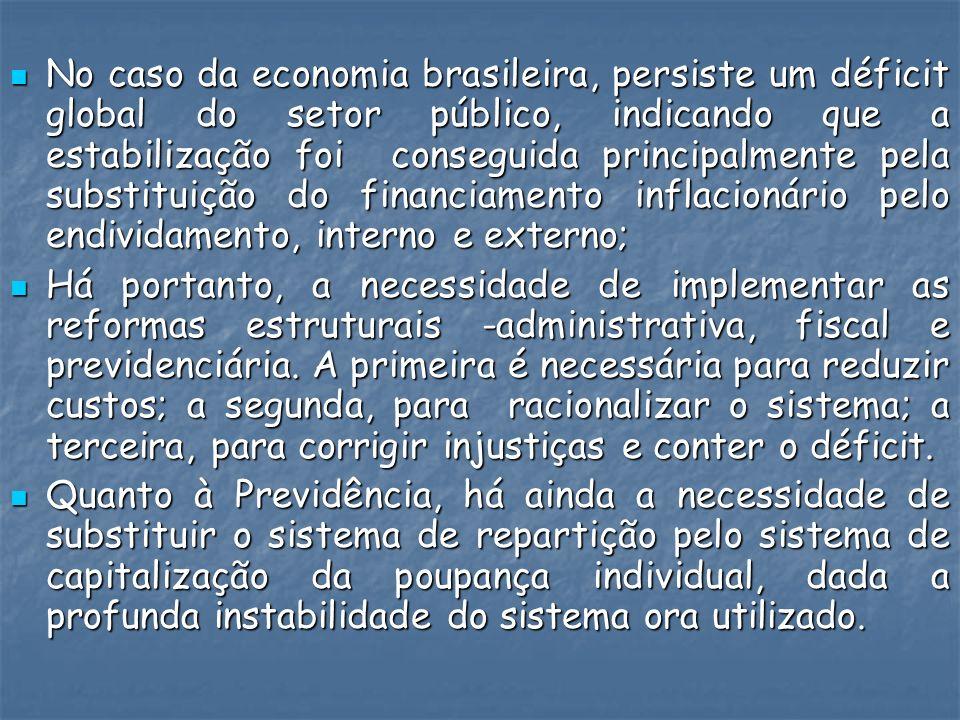 No caso da economia brasileira, persiste um déficit global do setor público, indicando que a estabilização foi conseguida principalmente pela substituição do financiamento inflacionário pelo endividamento, interno e externo;