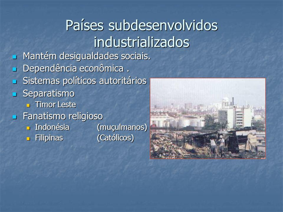 Países subdesenvolvidos industrializados