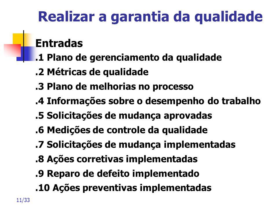 Realizar a garantia da qualidade