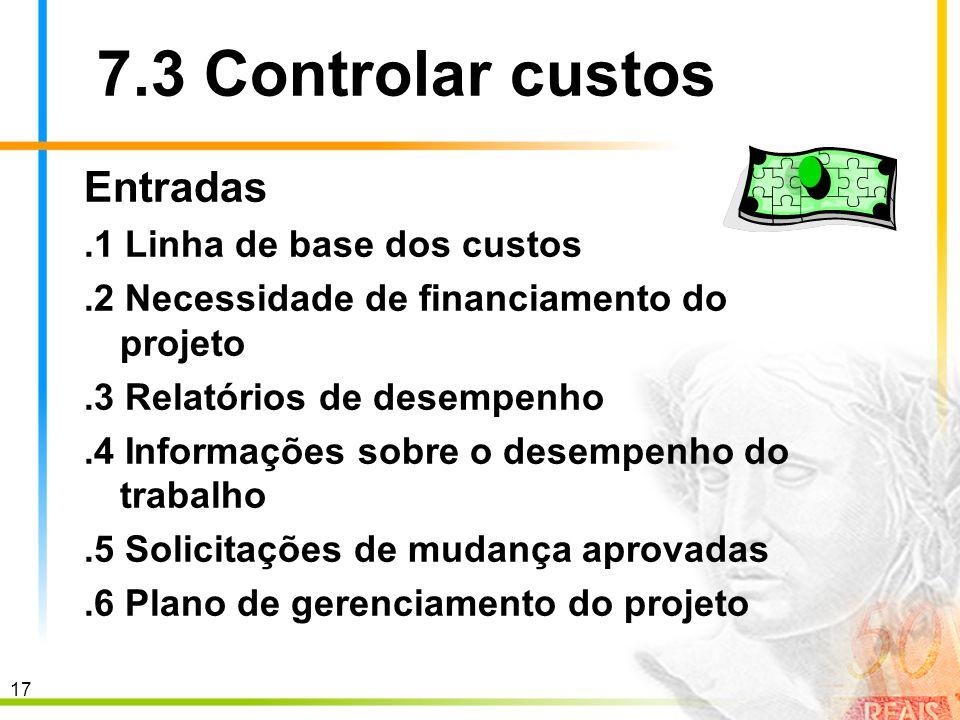 7.3 Controlar custos Entradas .1 Linha de base dos custos