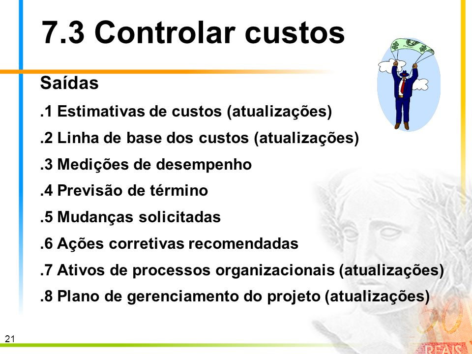 7.3 Controlar custos Saídas .1 Estimativas de custos (atualizações)