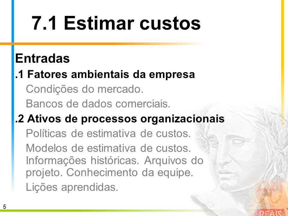 7.1 Estimar custos Entradas .1 Fatores ambientais da empresa