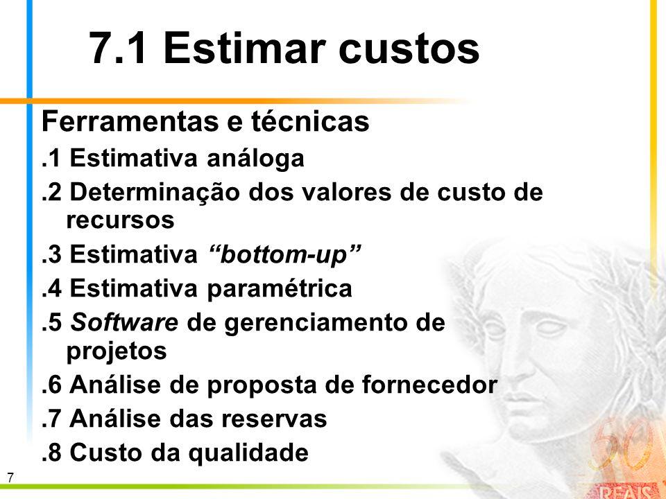 7.1 Estimar custos Ferramentas e técnicas .1 Estimativa análoga