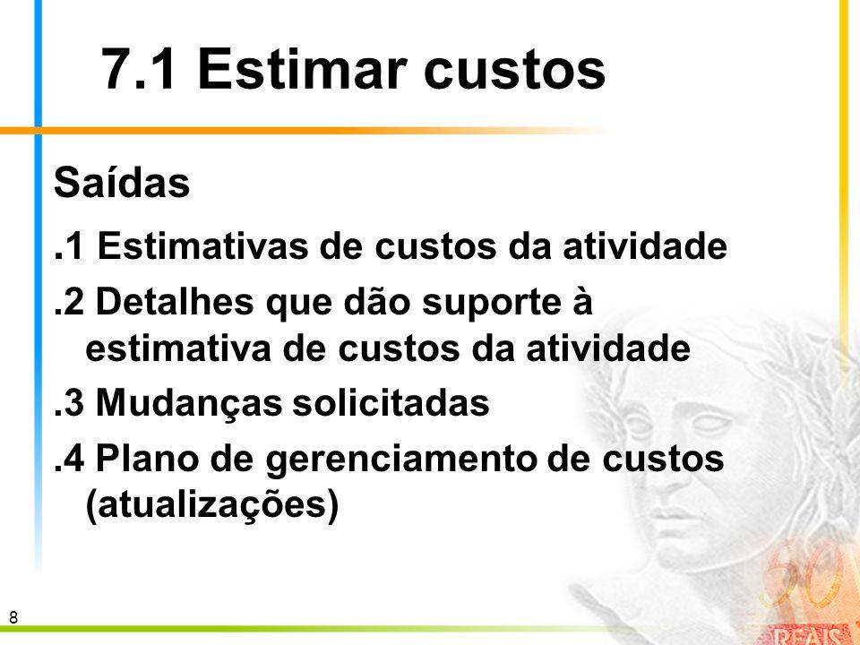 7.1 Estimar custos Saídas .1 Estimativas de custos da atividade