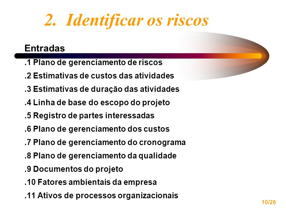 2. Identificar os riscos Entradas .1 Plano de gerenciamento de riscos