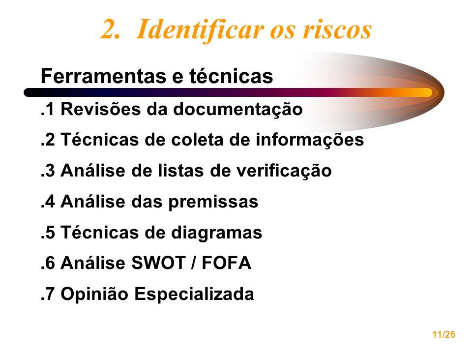 2. Identificar os riscos Ferramentas e técnicas