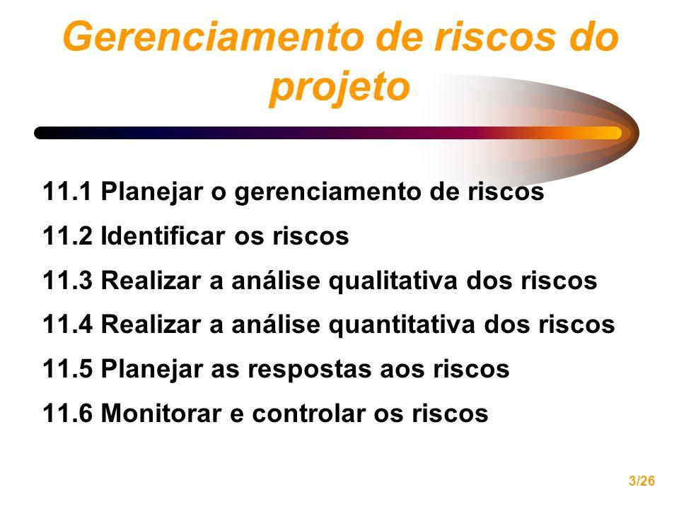 Gerenciamento de riscos do projeto