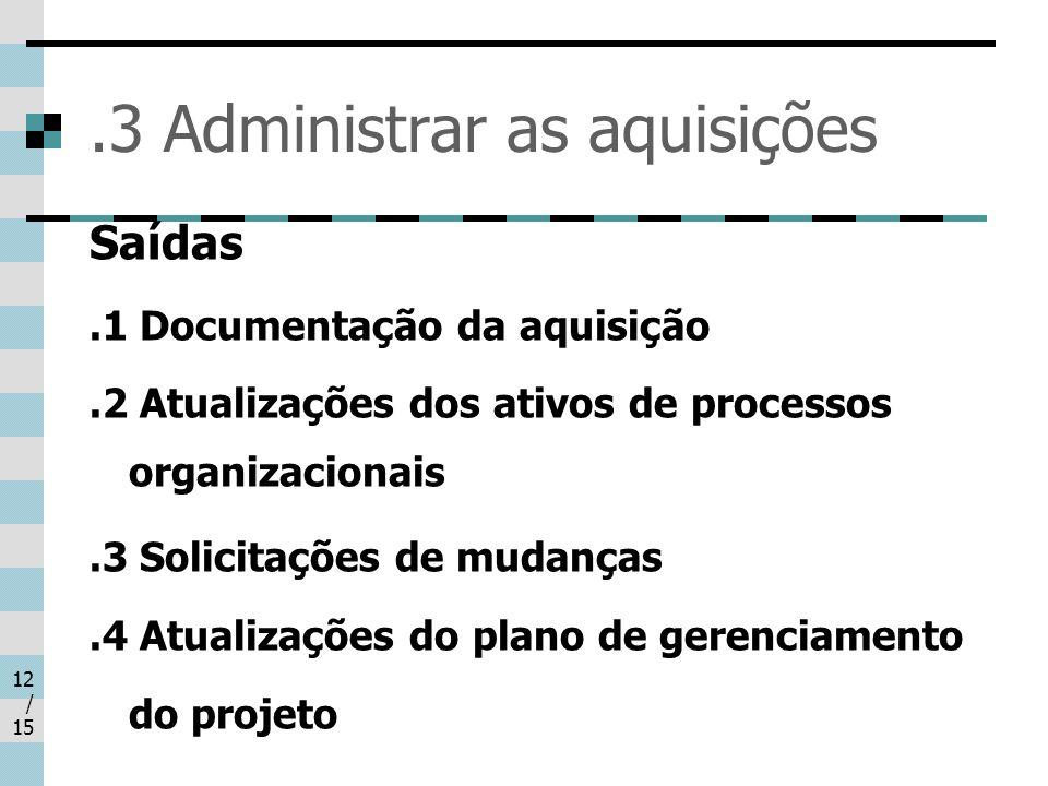 .3 Administrar as aquisições