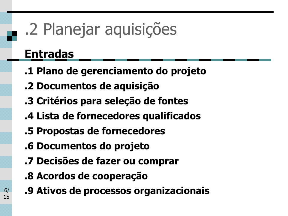 .2 Planejar aquisições Entradas .1 Plano de gerenciamento do projeto