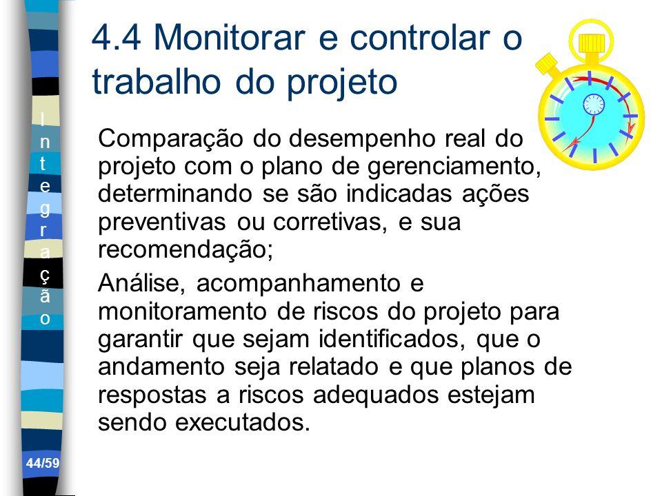 4.4 Monitorar e controlar o trabalho do projeto